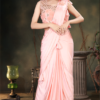 Peach Ready To Wear Sarees With Danglers