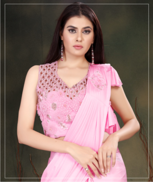 Pink Ready To Wear Sarees With Danglers