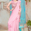 Pink Fancy Ready To Wear Saree With Purehandwork