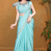 Silver Bordered Frilled Baby Firozi Saree