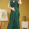 The cocktail collection in Green saree