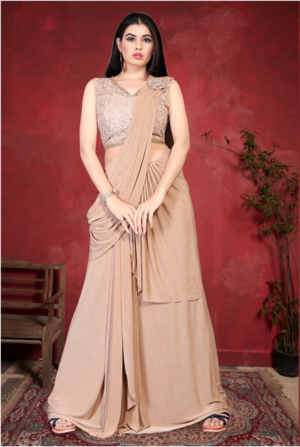 Ready To Wear Fancy Chickoo Saree