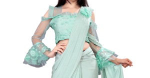 Delicate Firozi Shaded Saree
