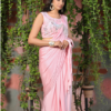 baby pink lycra ready to wear saree