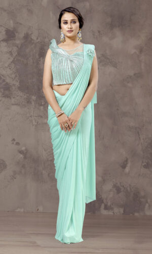 Berry Draped Embellished Saree Gown