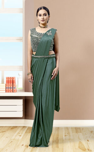 Saree Gown with Detachable Cape