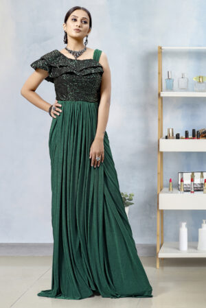 Green Party Wear Gown