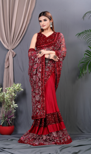 Embroidered Red Lycra Trendy Saree